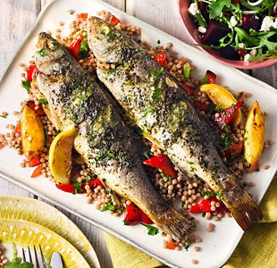 Sea bass with lemon & parsley butter