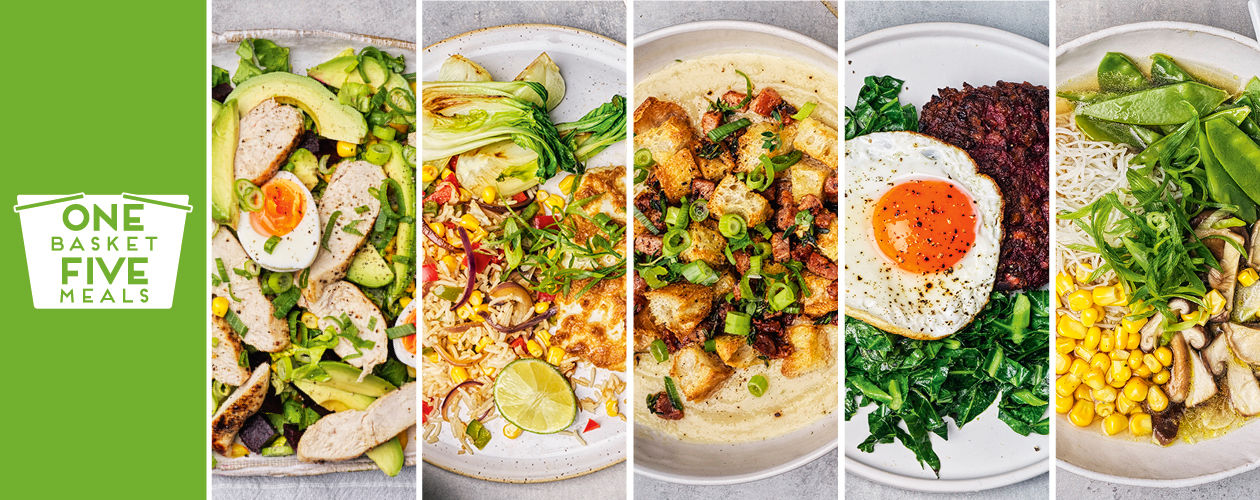 Ginger baked cod, one-pot mushroom, soup and chicken salad